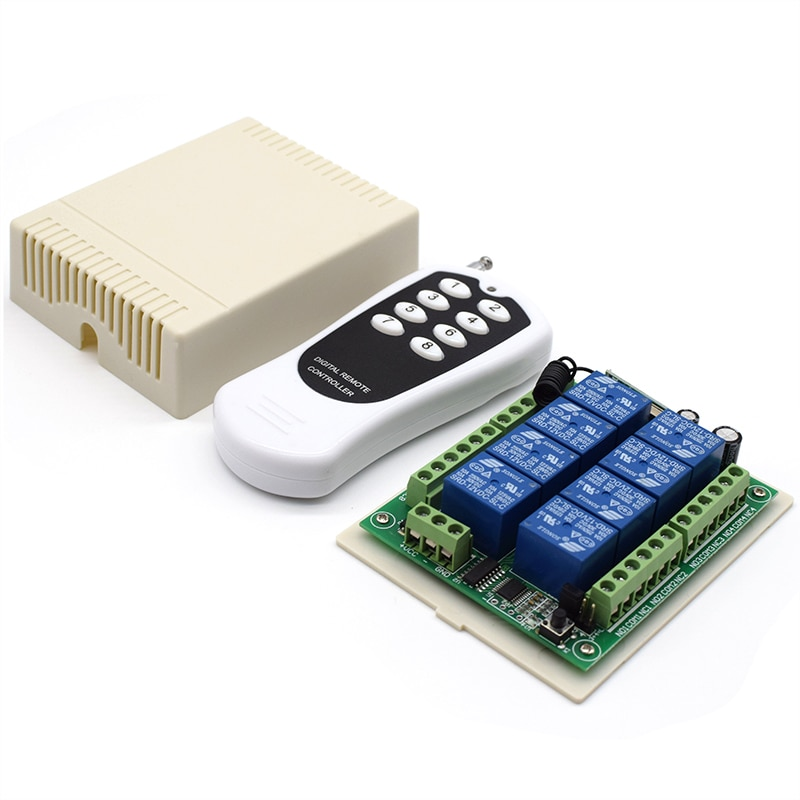 Tablero transmisor + receptor para puertas/Cerraduras/ventanas/persianas DC 12V8Channel relé módulo inalámbrico RF interruptor de Control remoto