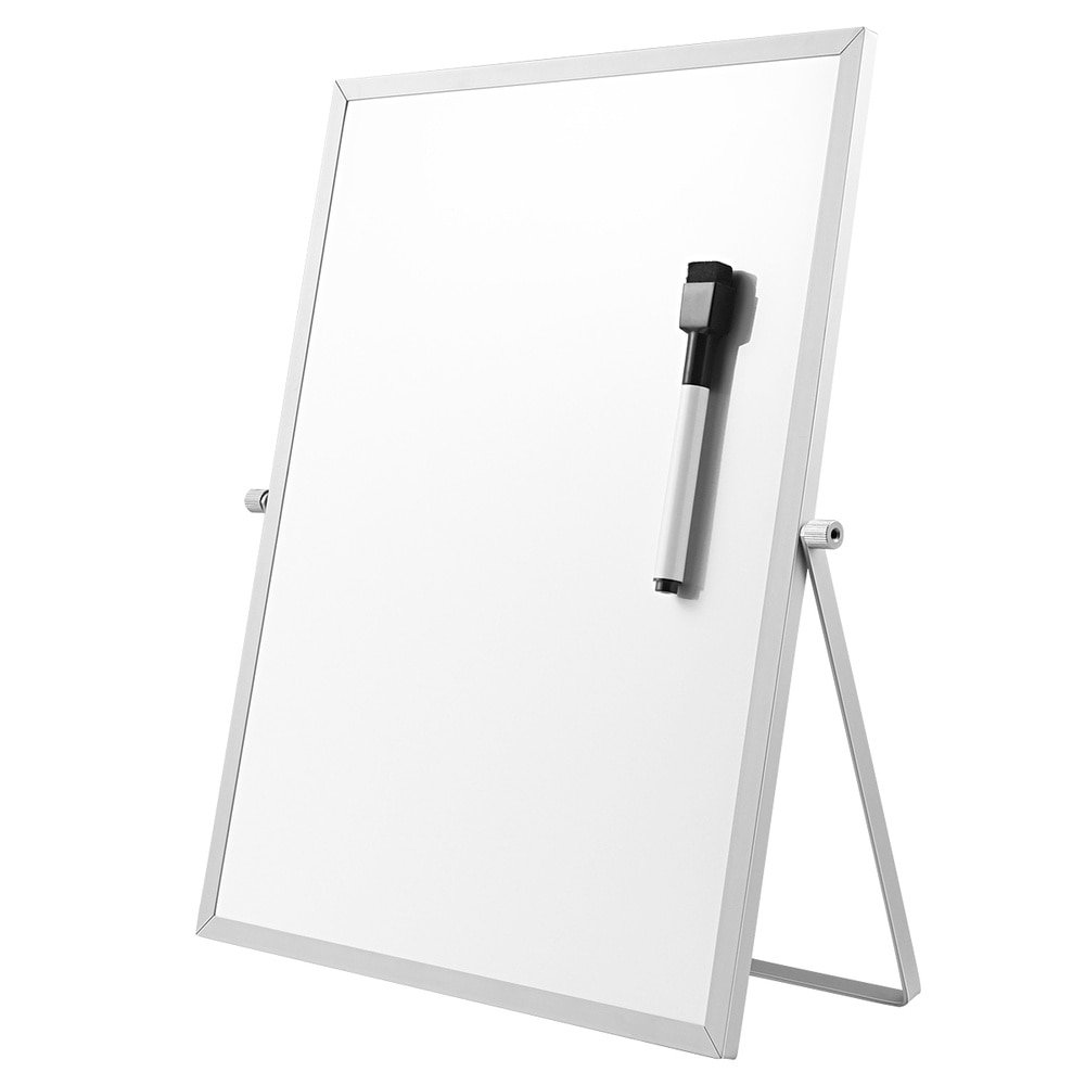 STOBOK Magnetic Dry Erase Board Double Sided Personal Desktop Tabletop White Board Planner Reminder with Stand for School Home