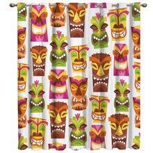 Caras sonrientes Hawaii patrones coloridas cortinas de ventana oscura sala de estar cortina Rod cocina cortinas de tela Interior