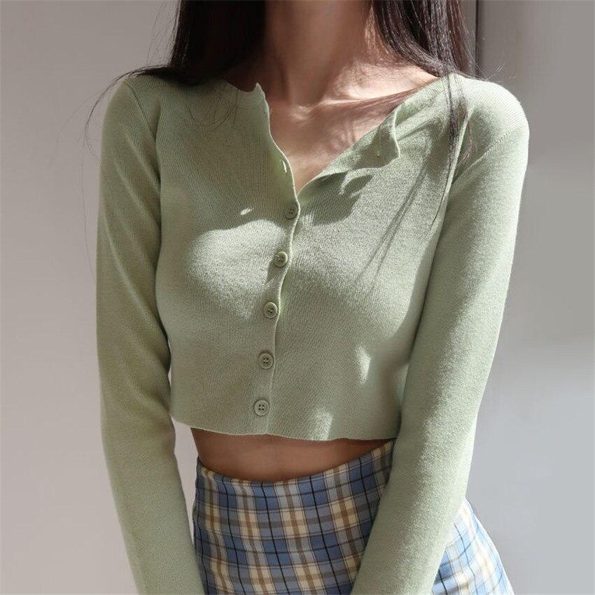 Estilo coreano de cuello corto de punto suéteres mujeres Rebeca delgada moda corto manga sol protección Top Ropa de Mujer