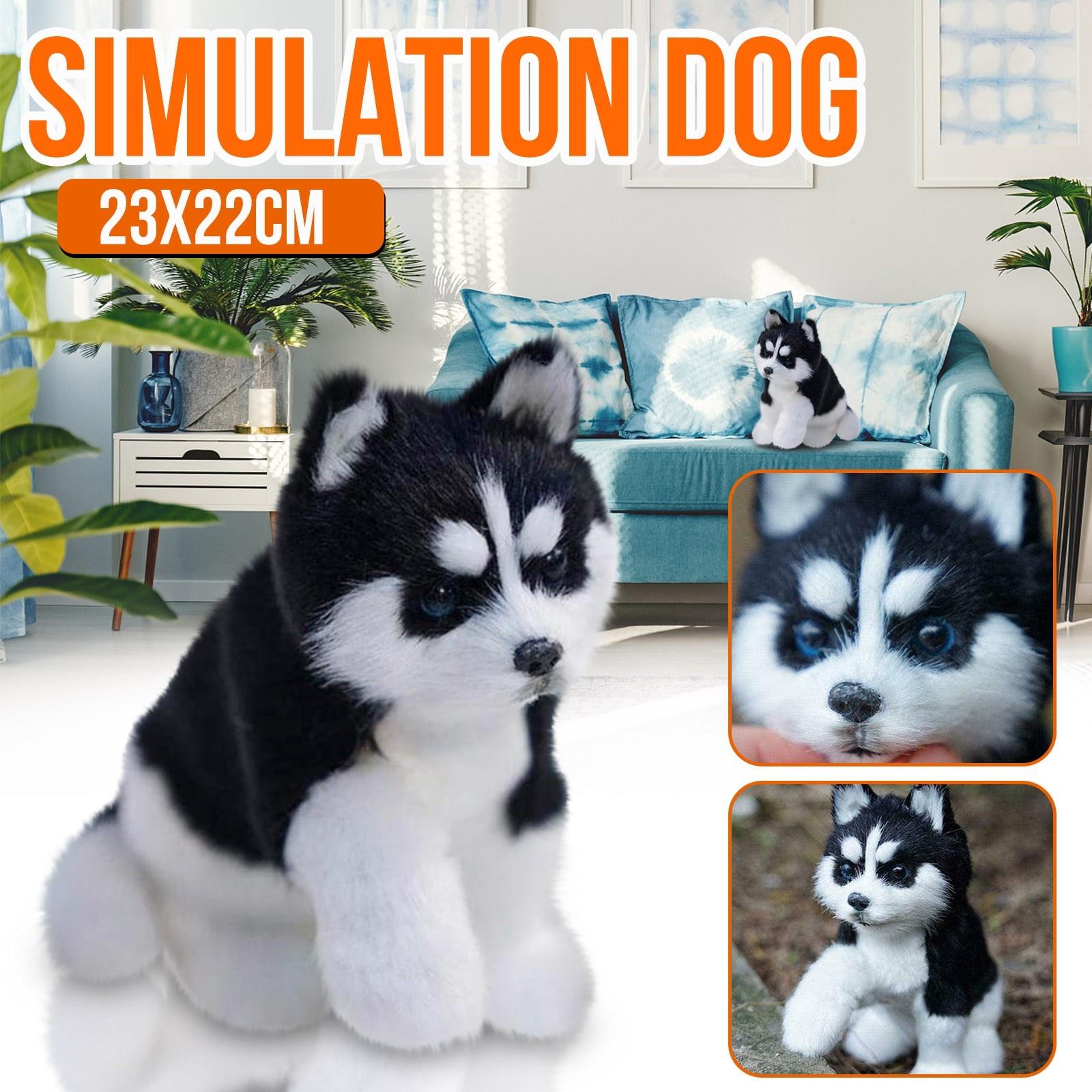 Perro Husky de juguete para niñas, juguete de simulación de animales, regalos...