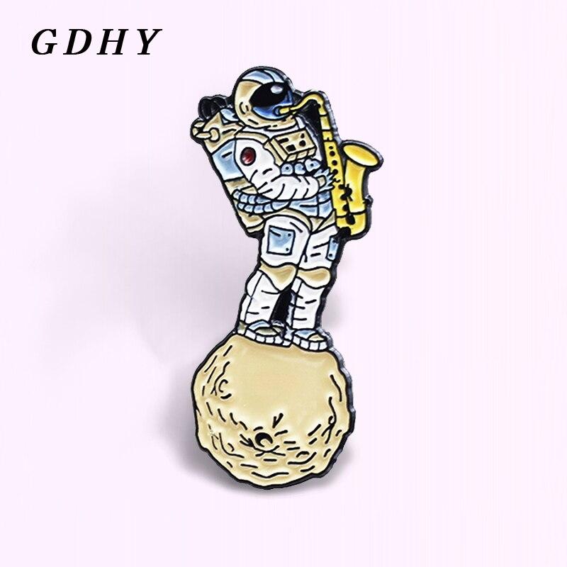 GDHY, saxofón de astronauta, broches de esmalte de viaje espacial, alfiler de solapa musical de astronauta, insignia, joyería divertida, regalo para niños, amigos, Abzeichen
