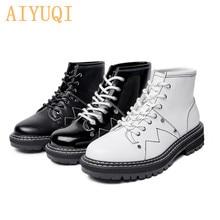 AIYUQI Women Winter Boots White 2021 New Genuine Leather Women Martin Boots Large Size 41 42 Fashi