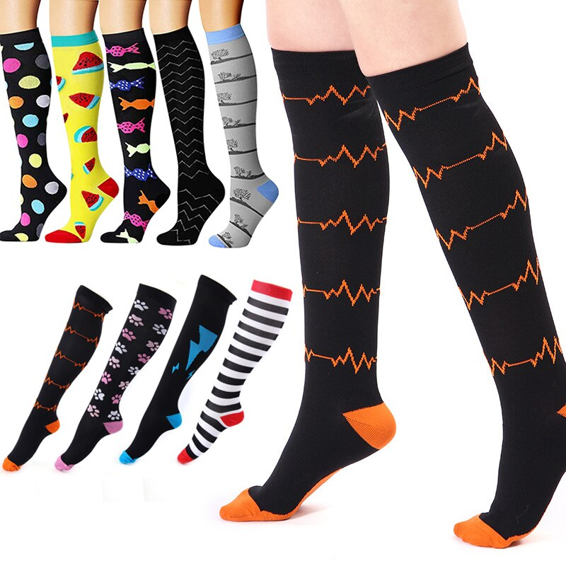 49 Styles Unisex Socks Compression Socks Breathable Outdoor Travel Activities Fit For Nurses Shin Splints Flight Travel Socks