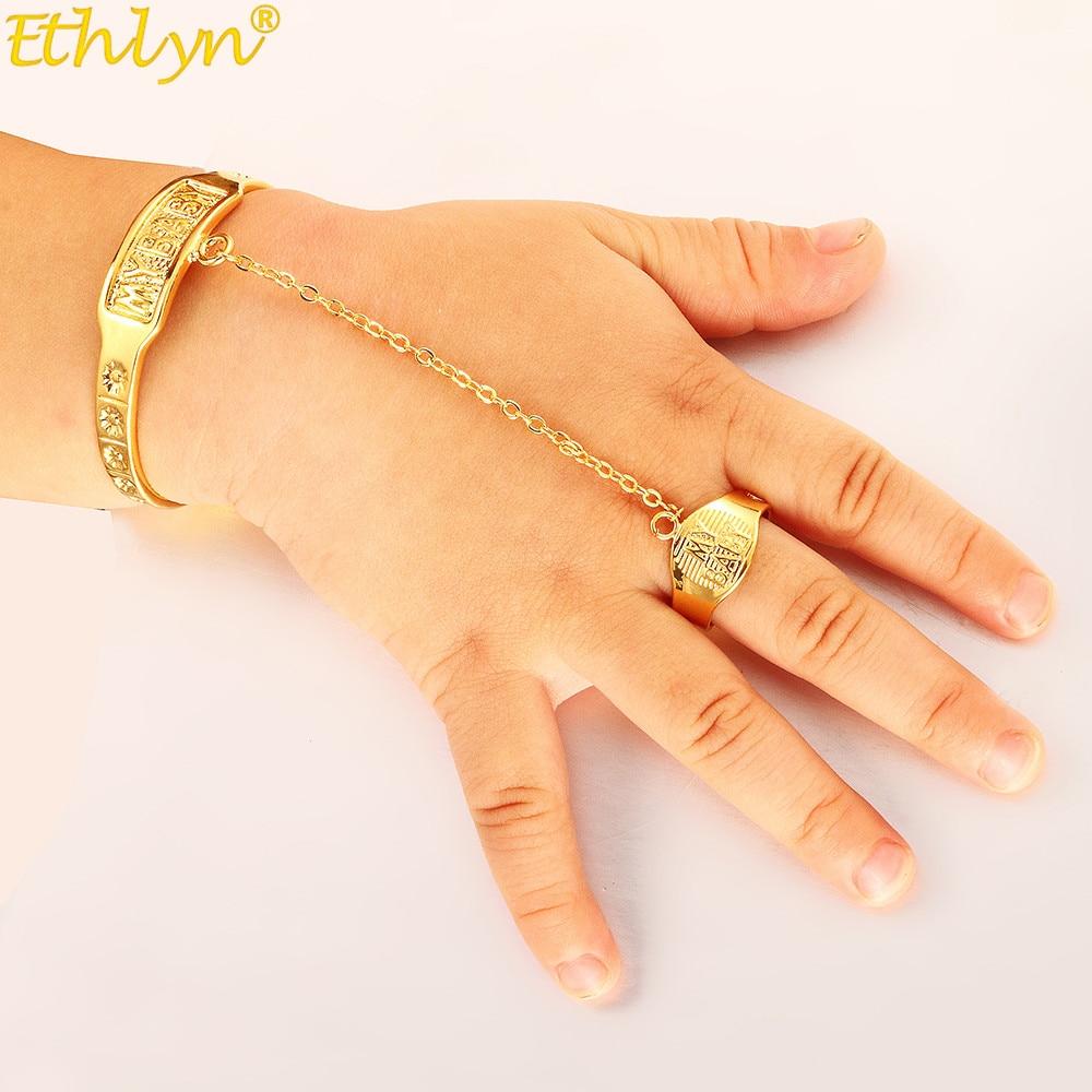 Ethlyn, recién llegados, a la moda, brazaletes de oro de Dubái para bebé/pulseras con anillo para niños, etíopes africanos, joyería para bebé B202