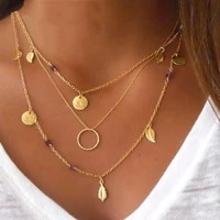 changyi 2021 trend party necklace multiple layers pendant necklaces women jewelry metal chain necklace for lady gift