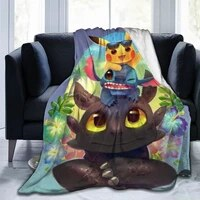 3d printed stitch sherpa blanket couch quilt cover travel youth beddingstitch blanket bedspread