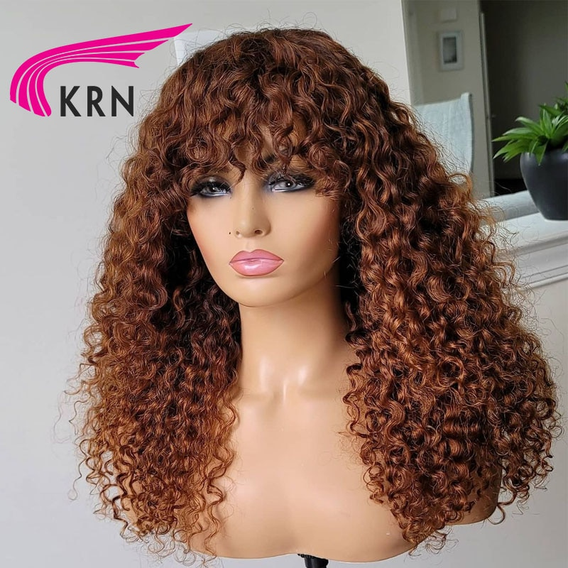 KRN Curly Human Hair Wigs With Bangs Brazilian Remy Hair Blonde Full Machine Made Human Hair Wigs For Human Woman Wigs