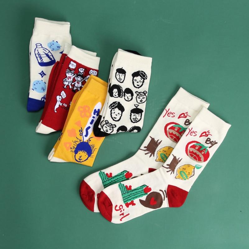 Hot Sales Funny Socks Women Creative Cartoon Illustration Korean Style Harajuku Breathable Cotton Casual Happy Skateboard