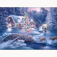Peinture diamant theme paysage et neige  mosaique 5D  a bricolage soi-meme  image carree avec strass  decoration dinterieur  noel