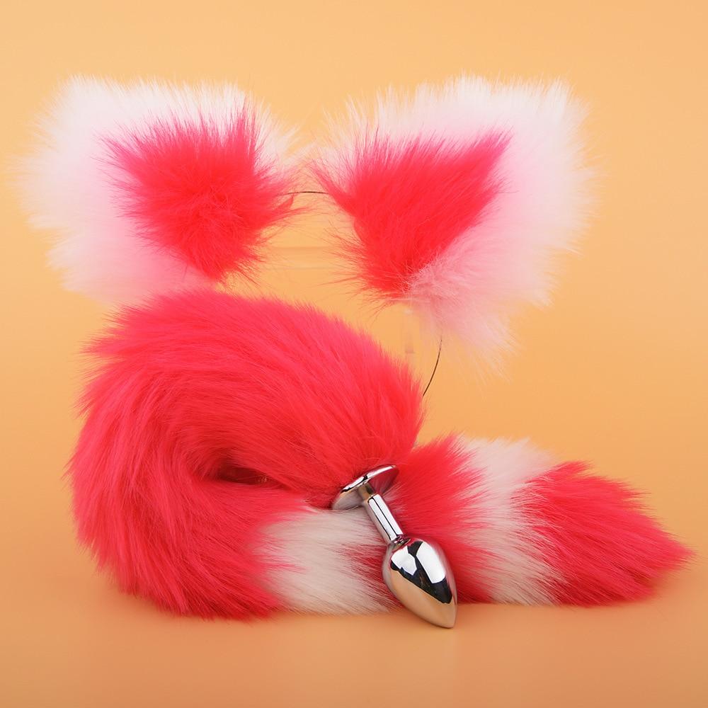 Zorro de enchufe de cola de piel de imitación de horquilla Loli lindo Diadema con orejas de gato erótico Cosplay trasero apelación accesorios cola enchufe de Metal