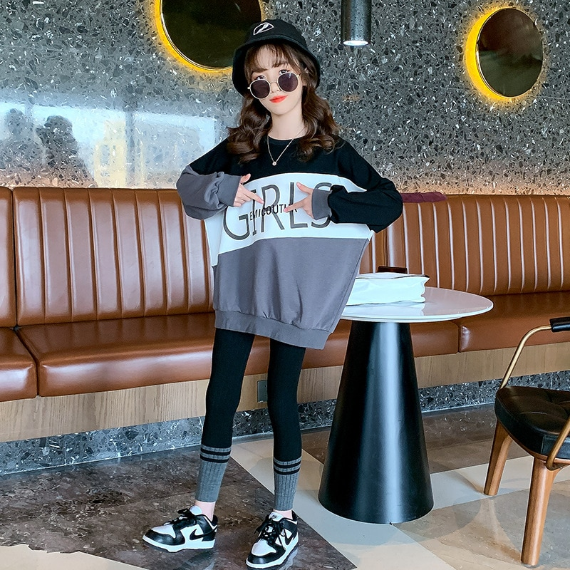 Kids Girls Clothes Sets Long Sleeve Sweater + Leggings Pants Autumn 5 7 8 10 12 Year Girls Clothing Sport Suit Baby Girl Clothes girls sweater turtleneck knitted long sleeve kids clothes autumn 2018 casual children school uniform size 8 10 12 13 15 year