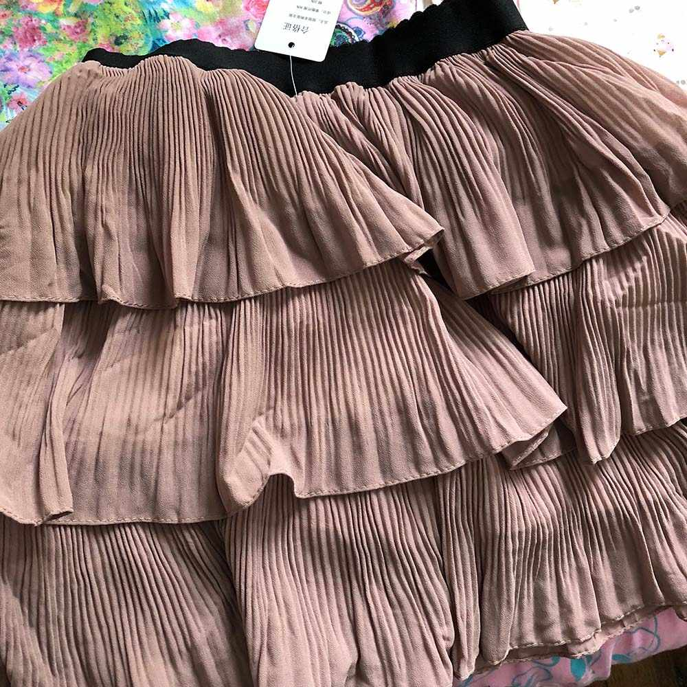 Nicemix 2019 Faldas De Primavera Otoño Nuevo Dulce Fresco Color Sólido En Cascada Volantes De Malla De Alta Cintura Plisada Mini Pastel Mujeres Faldas Faldas Aliexpress