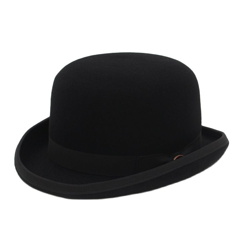 4 Colors 100% Wool Felt Derby Bowler Hat For Men Women Satin Lined Fashion Party Formal Fedora Costume Magician Hat