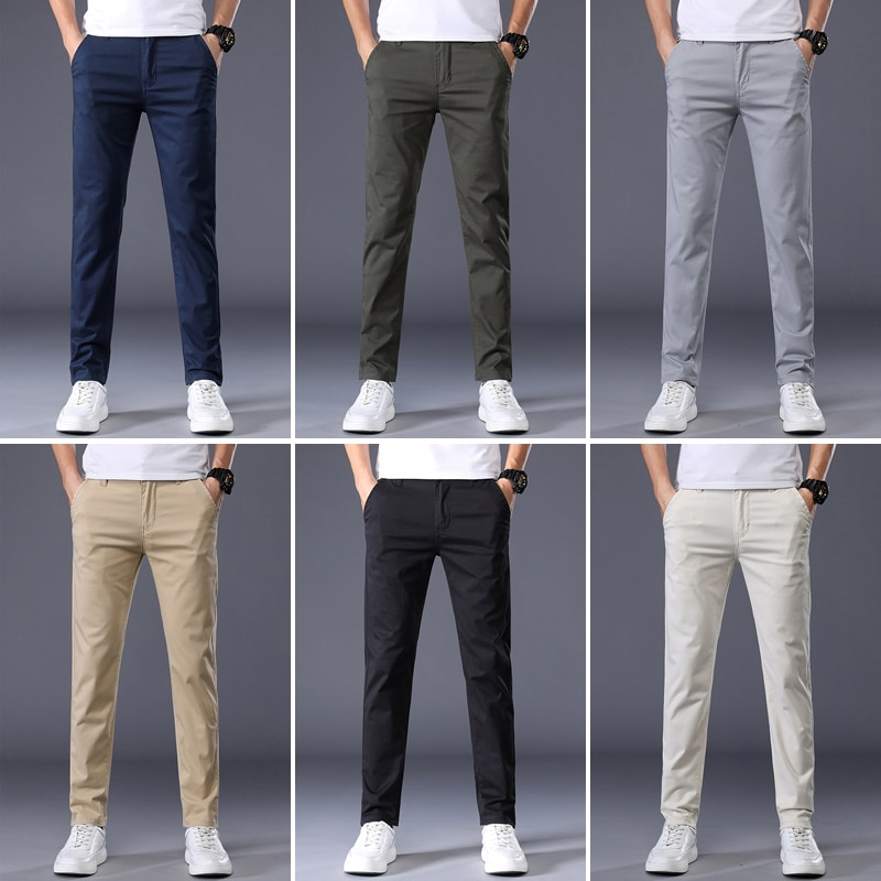 7 Colors Men's Classic Solid Color Summer Thin Casual Pants Business Fashion Stretch Cotton Regular Fit Brand Trousers Male