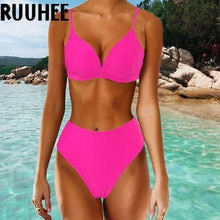 RUUHEE Neon Hohe Taille Bikini 2020 Frauen badeanzug Push-Up Bademode Brasilianische Biquini Schwimmen Anzug Sommer Badeanzug Femme