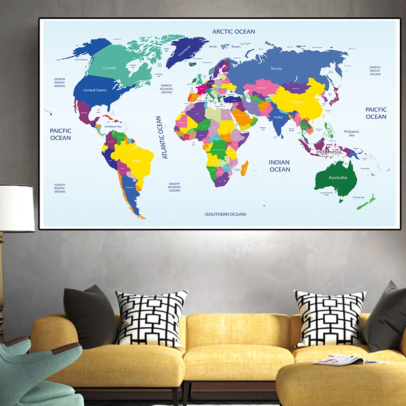 225*150 Cm The Map of The World Non-woven Canvas Painting Art Posters Wall Hanging Decor Living Room Home Decoration