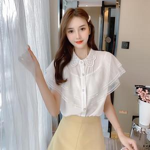 Women Shirts Blouse White Chiffon Shirt Female 2020 Summer Fashion Ruffled Shirt Womens Tops and Blouses