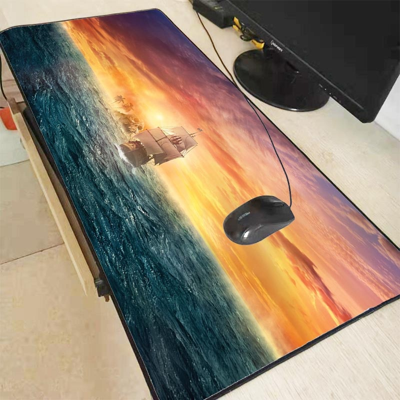 XGZ корабль над морским облаком закат игровой коврик для мыши замок край большой коврик для мыши ПК компьютер Ноутбук клавиатура Коврик для CS...