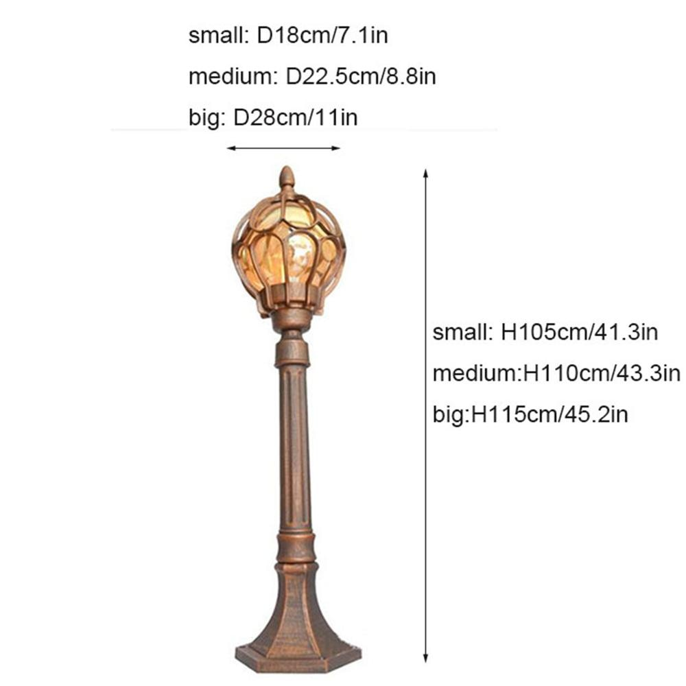 Vintage 1 Meter High Pole Outdoor Lawn Lamp,European Garden Lamp with Globe Glass Shade,Waterproof  Pathway Driveway Lighting enlarge
