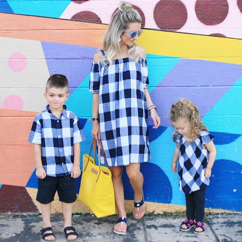 Family Accessory Clothing Boys Girls Shirt Dress Summer Mother And Clothes Newborn Baby Set