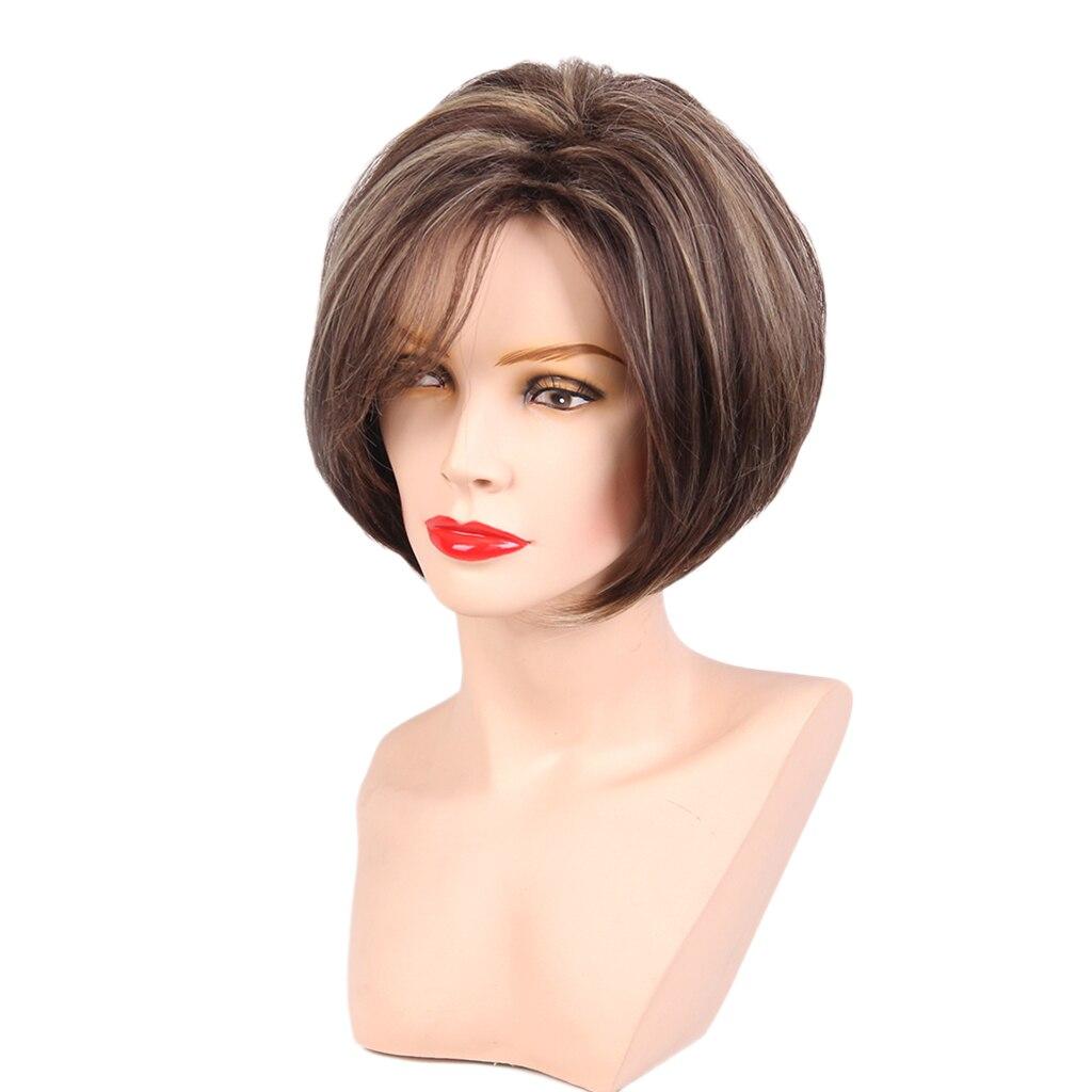 الوجه الإطار قصيرة الطبيعية مستقيم الطبقات 100% شعر بشري حقيقي الباروكات الكلاسيكية قبعة مجموعة مختلطة البني للإناث الفتيات النساء