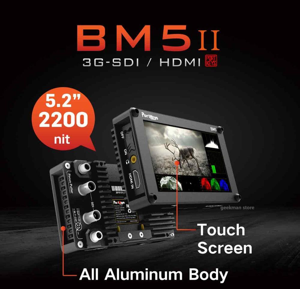 Porteadores BM5 Ii 2200nit 3G Sdi/Hdmi Super Heldere de la Cámara de Control de pantalla táctil Fhd Op Monitor cámara de 5,2 pulgadas
