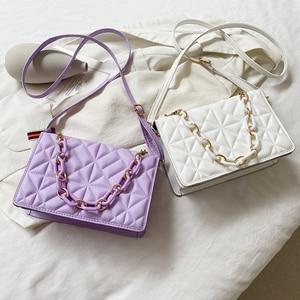 Fashion Female Geometric Embossing Handbags Ladies Solid Color Crossbody Bags Small PU Pearl Chain Shoulder Bags