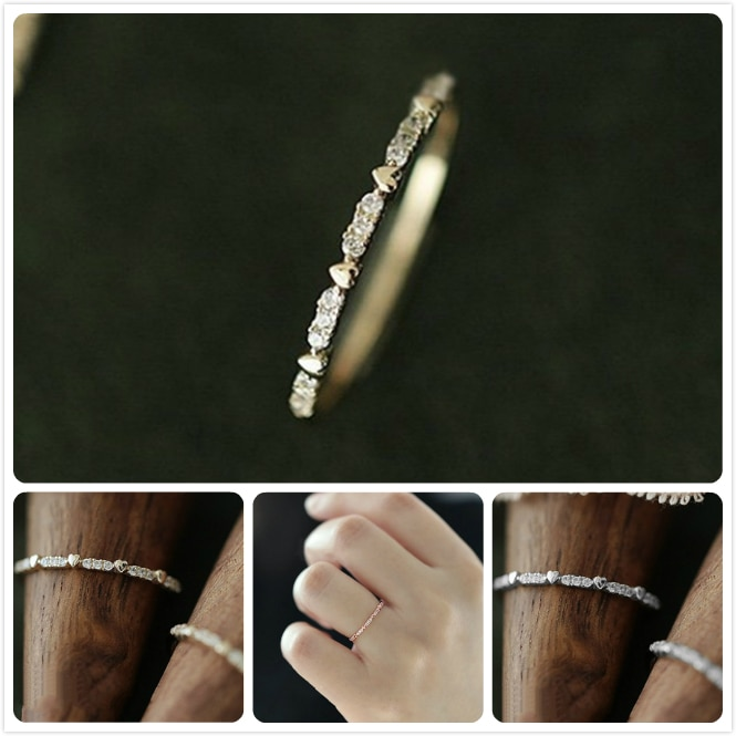 Anel delicado Brilhante Zircon Anéis Para Mulheres anillos Coreia Menina Nupcial Do Casamento Do Amor Coração Do Anel de Ouro Rosa Anéis de Dedo Partido r5