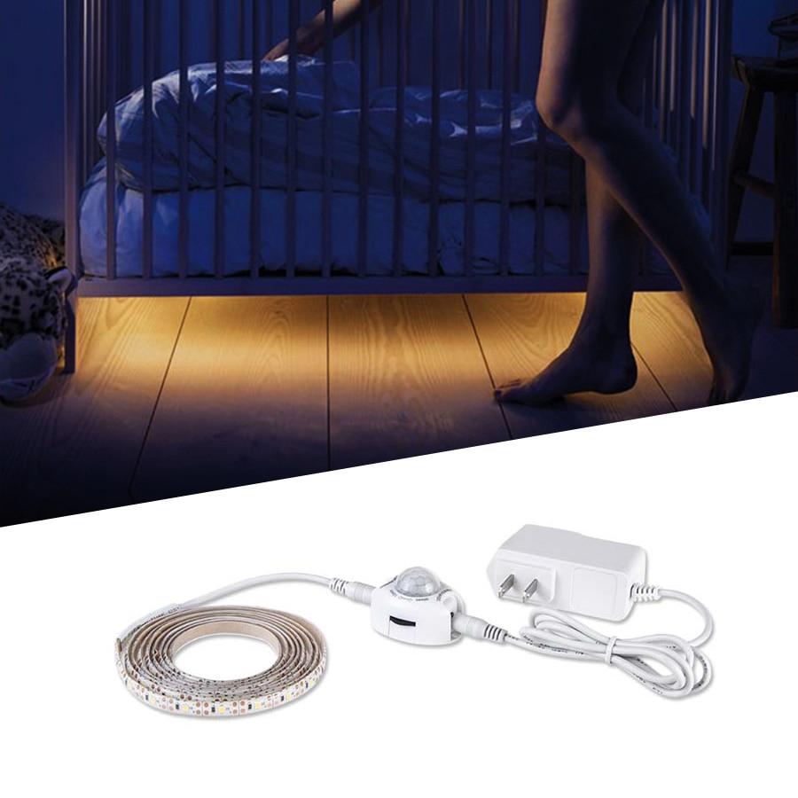 Luz de led de cozinha sob armário, com sensor de movimento dc 12v 5m diodo fita de cozinha lâmpada para cozinha quarto closet escadas