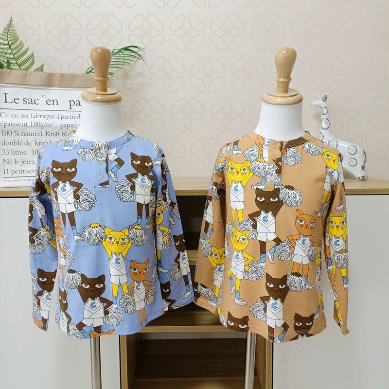 Verão crianças meninos t camisa gato impressão de manga cheia bebê meninas camisetas de algodão crianças t-shirts o-pescoço topos menino pano