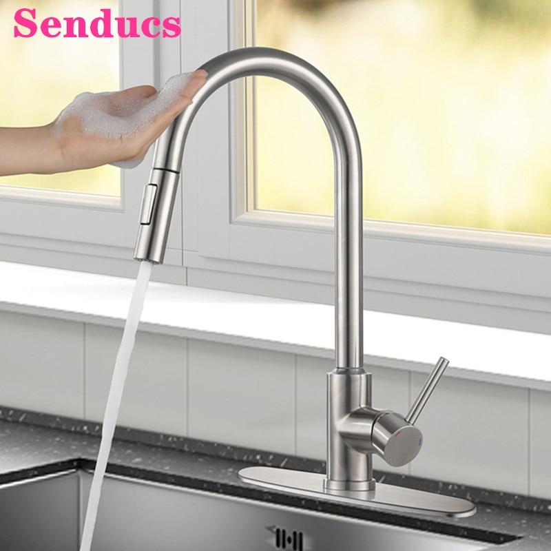 Выдвижной Смеситель для кухни, кухонный кран с сенсорным экраном G1/2, с гибким шлангом для горячей и холодной воды смеситель для кухни с сенсорным экраном латунный вытяжной кран для горячей и холодной мойки