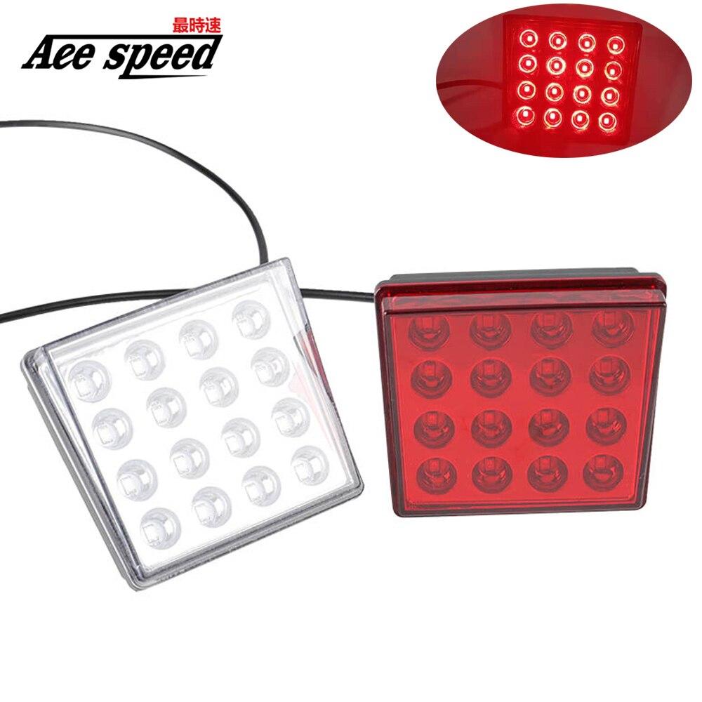 Luces antiniebla de freno trasero LED Universal lámpara de parachoques de labios traseros de luz piloto cuadrada para Honda Civic 8th