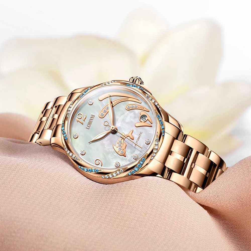 Lobinni Crystal Ladies Wrist watch Fashion Seagull Movement Women's Mechanical Watches 50M Waterproof zegarki damskie Luminous enlarge