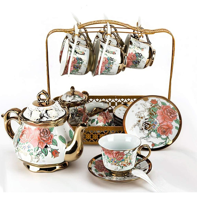 16 Piece Ceramic Teapot Set European Luxury Coffee Cup And Saucer Spoon Set Teatime Teapot Coffee Cup Mug Coffeeware For Gifts