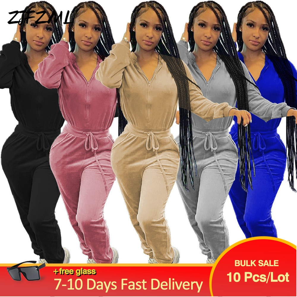 Bulk Items Wholesale Lots Velvet Rompers Womens Jumpsuit Zipper Up Long Sleeve Workout Overall Autumn Winter One Piece Outfit