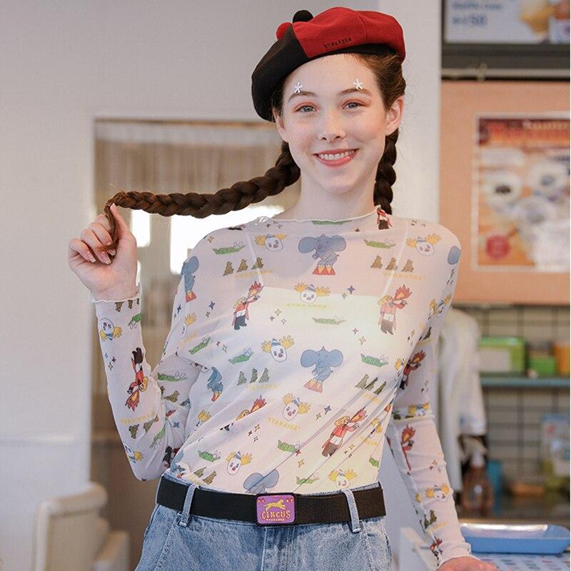 ¡Novedad de verano! Bonita camiseta de malla de manga larga con cuello redondo y estampado de dibujos animados para mujer