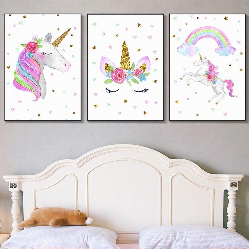 Arco Iris unicornio nube pequeña estrella corazón impresión Rosa flor pintura colorida de la lona guardería arte de pared bebé niña decoración de pared de habitación