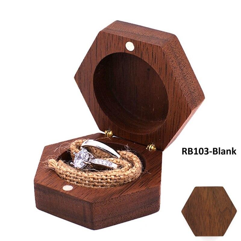 Black Walnut Hexagon Personalized Rustic Wedding Wood Ring Box Holder Wedding Ring Bearer Jewelry Box for  Wedding Gift hexagon personalized rustic wedding wood ring box holder custom your names and date wedding ring bearer box black walnut