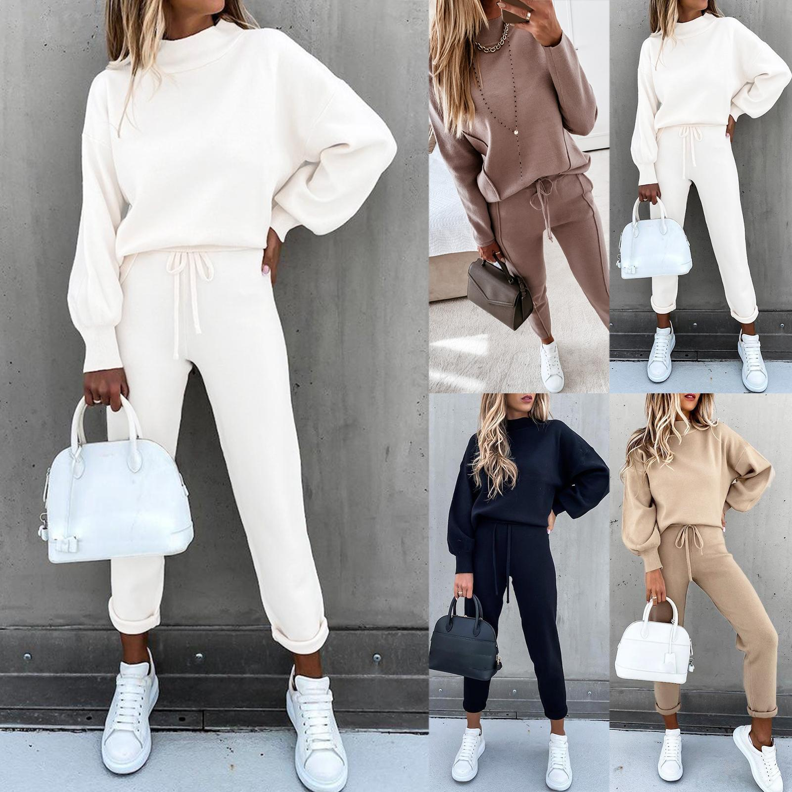 Women Autumn Blouse and Pants 2 Pieces Set Tracksuit Turtleneck Long Sleeve Pullover Sweatshirt Drawstring Pants Sportswear 2020