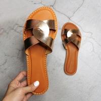 Сланцы женские кожаные, летняя пляжная обувь, без застежки, шлепанцы, модный бренд