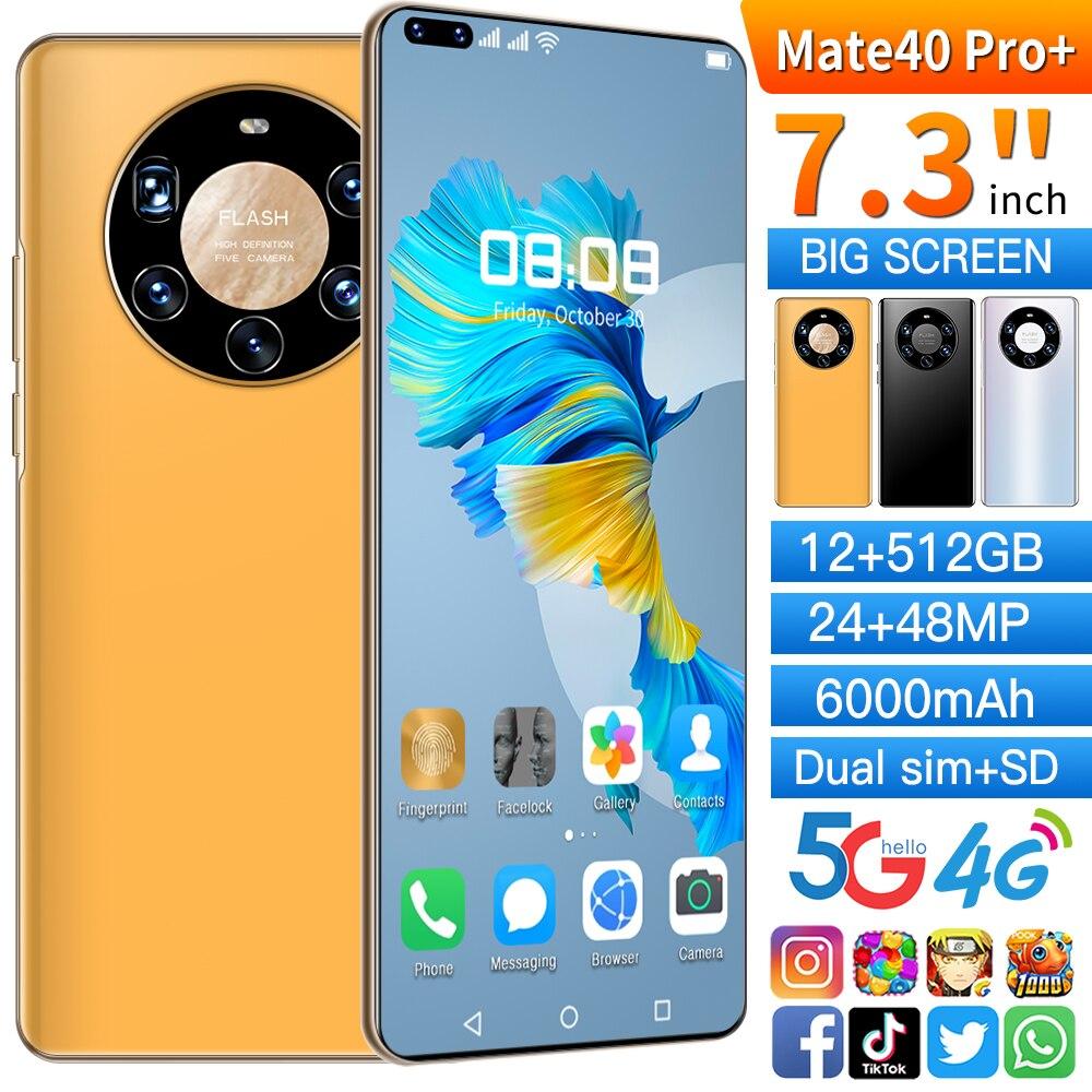 الإصدار العالمي الجديد من هاتف HuaWe Mate40 Pro + الذكي ذاكرة 12 + 512 جيجابايت بشريحتين وشاشة 7.3 بوصات بطارية 6000 ميللي أمبير ساعة هاتف خلوي ضخم ببطارية ...