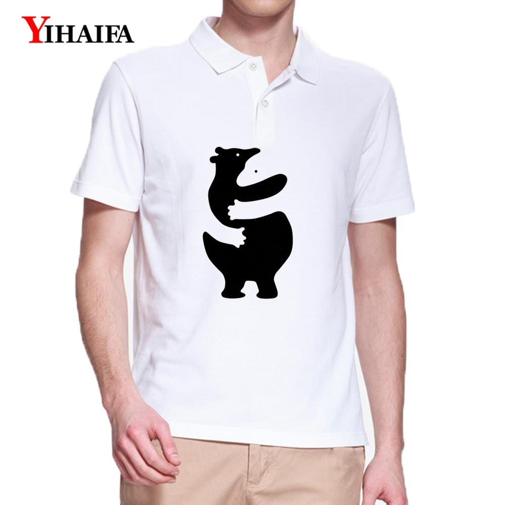 Camiseta Polo YIHAIFA de manga corta con estampado de pareja de dibujos animados de verano para hombre