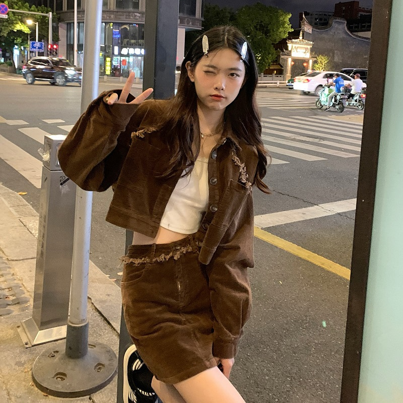 Autumn Korean Dress Suit Version 2021 New Fashion Versatile Corduroy Washing Wool Small Fragrance Coat Women's Fashion