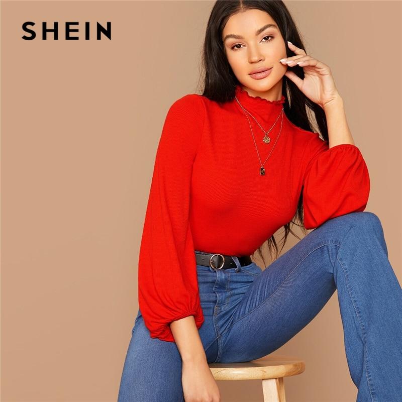 SHEIN модная женская футболка с воротником-стойкой и рукавом-фонариком с рюшами в рубчик без ожерелья, осенняя однотонная элегантная женская ...