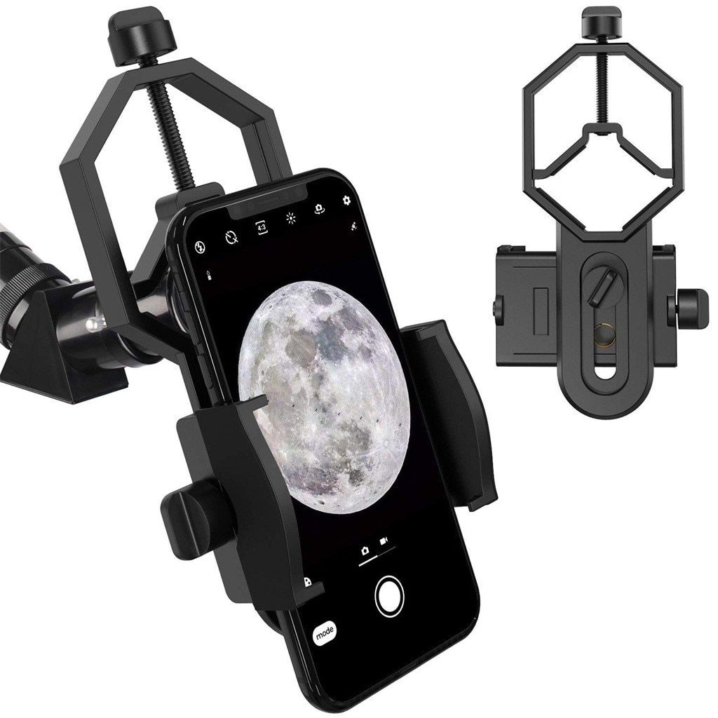 Telescopio teléfono móvil soporte multifunción telescopio Binocular teléfono soporte adaptador microscopio se adapta a casi Smartphone # e