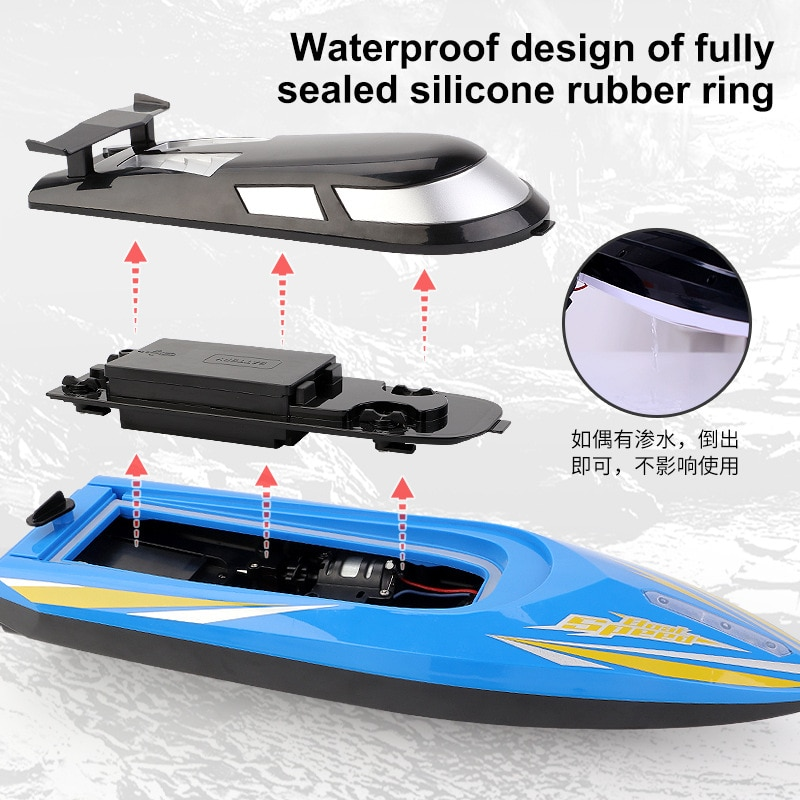 New 2.4G remote control high-speed speedboat rechargeable long endurance with light remote control boat water children's toy enlarge