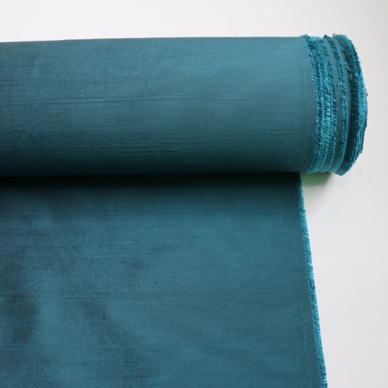 50cm * 110cm tela de seda Doupion tela sólida vestido de novia Material Pavo Real