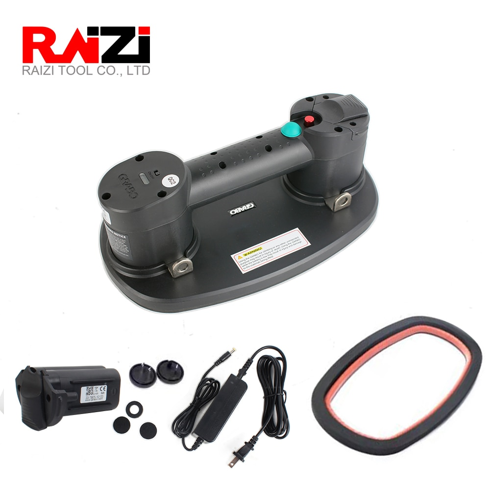 Raizi Grabo Portable Electric Vacuum Suction Cup Lifter for Wood Drywall Granite Glass Tile with Battery Heavy Lifting Tool