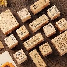 Vintage météo mois semaine Date planificateur timbre bricolage en bois caoutchouc timbres pour Scrapbooking papeterie Scrapbooking Standard timbre